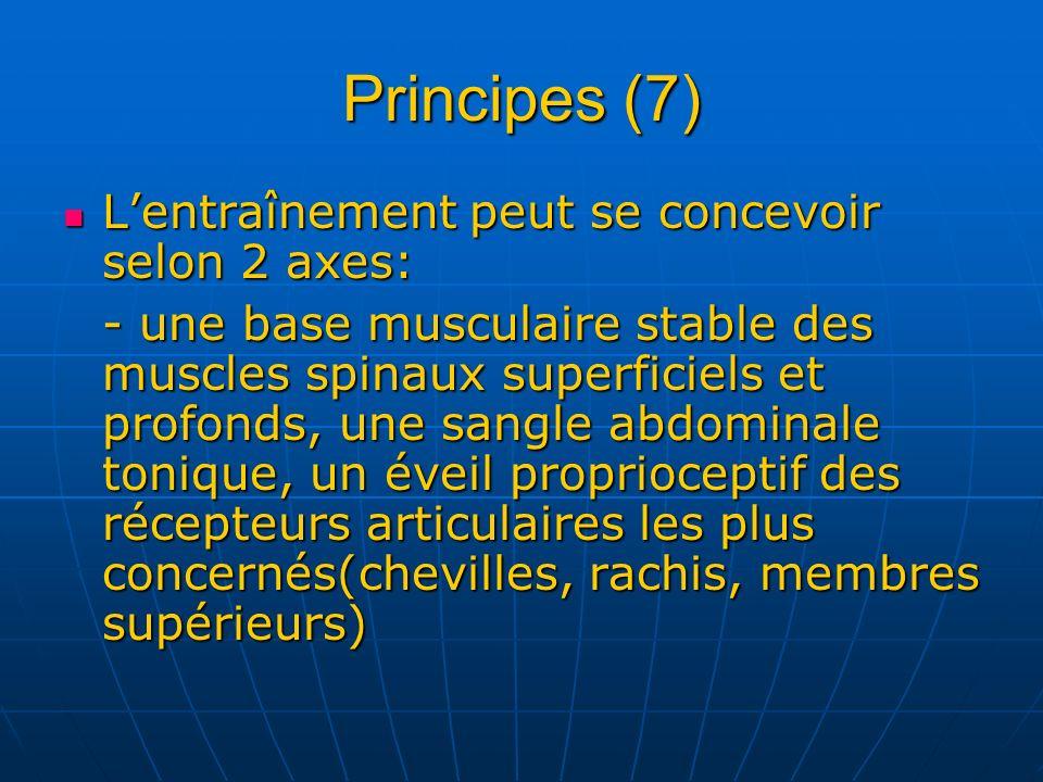 Principes (7) L'entraînement peut se concevoir selon 2 axes: