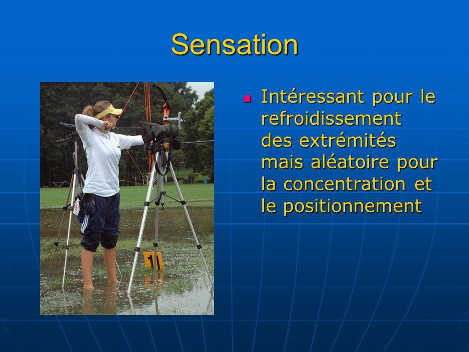 Sensation Intéressant pour le refroidissement des extrémités mais aléatoire pour la concentration et le positionnement.