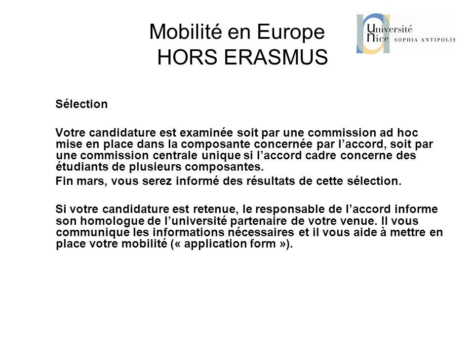 Mobilité en Europe HORS ERASMUS