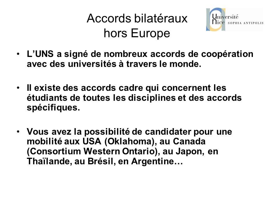 Accords bilatéraux hors Europe