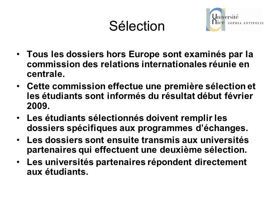 Sélection Tous les dossiers hors Europe sont examinés par la commission des relations internationales réunie en centrale.