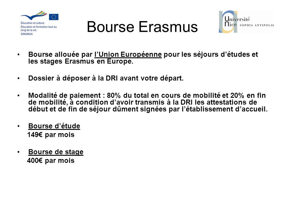 Bourse Erasmus Bourse allouée par l'Union Européenne pour les séjours d'études et les stages Erasmus en Europe.