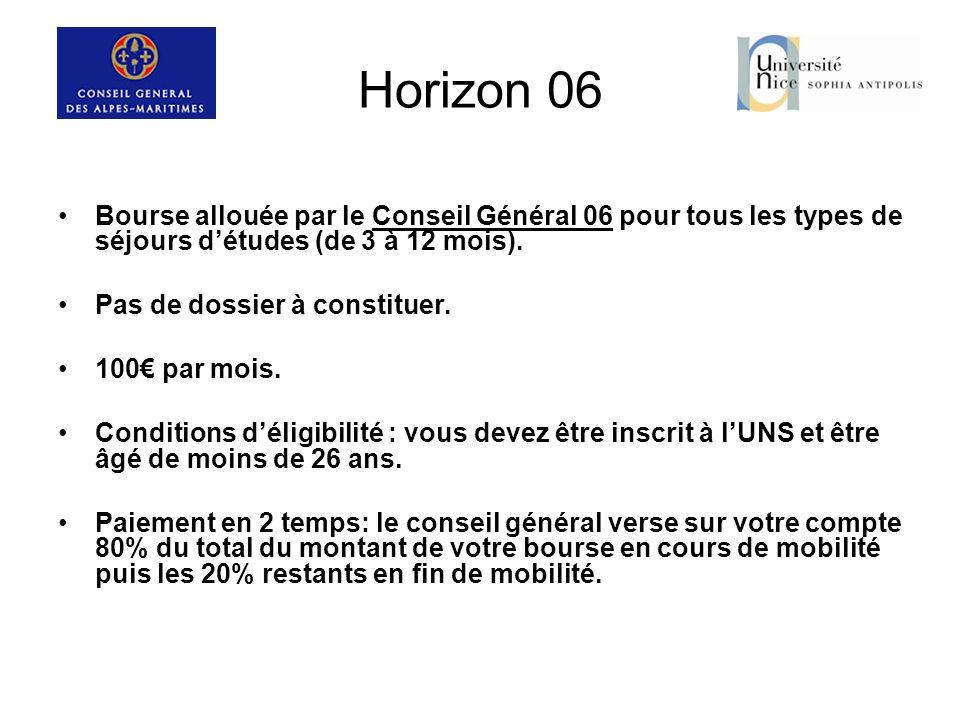Horizon 06 Bourse allouée par le Conseil Général 06 pour tous les types de séjours d'études (de 3 à 12 mois).