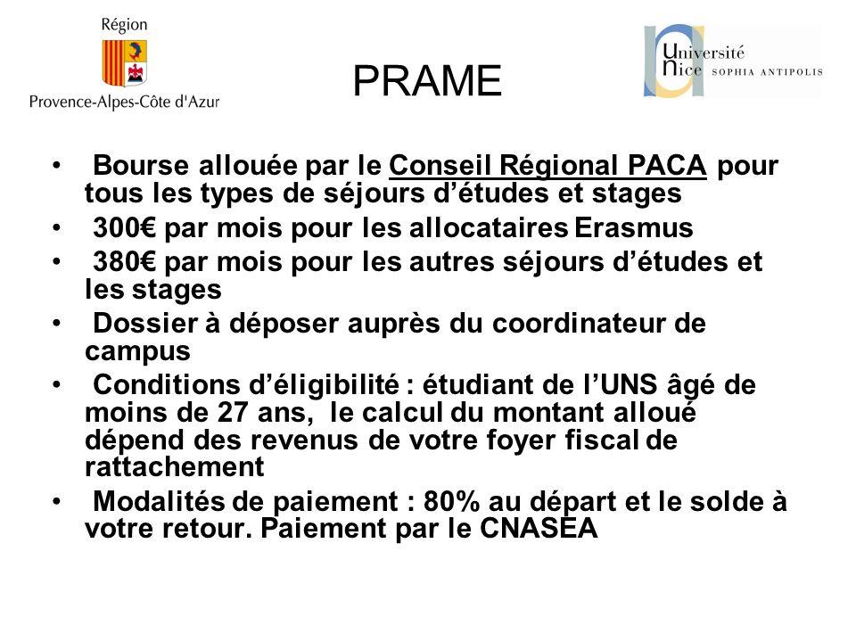 PRAME Bourse allouée par le Conseil Régional PACA pour tous les types de séjours d'études et stages.