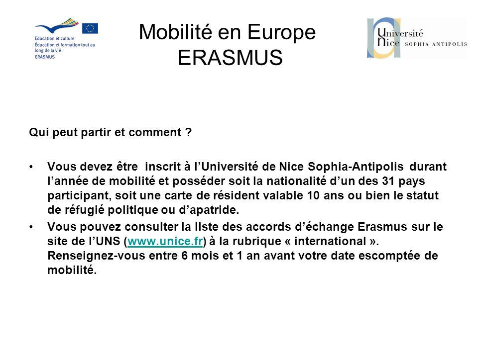 Mobilité en Europe ERASMUS