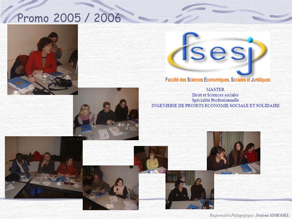 Promo 2005 / 2006 MASTER Droit et Sciences sociales