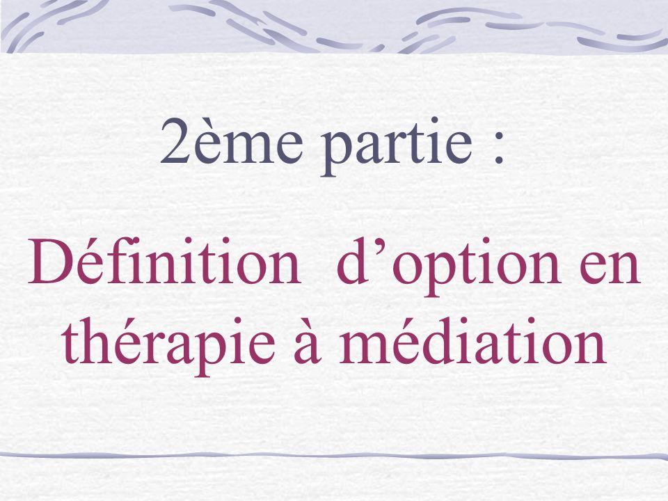 Définition d'option en thérapie à médiation