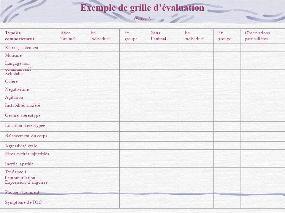 Exemple de grille d'évaluation