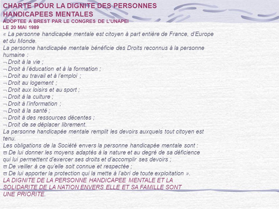 CHARTE POUR LA DIGNITE DES PERSONNES HANDICAPEES MENTALES