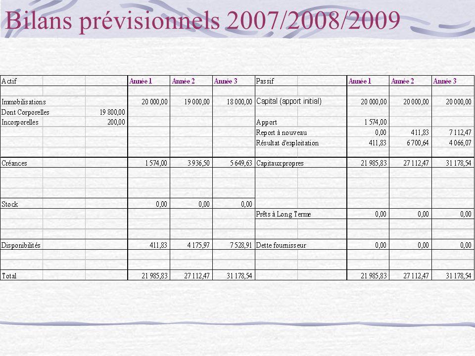 Bilans prévisionnels 2007/2008/2009