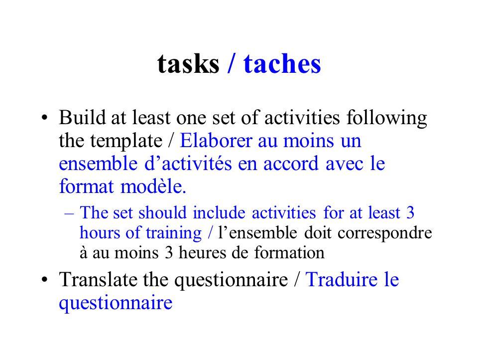tasks / taches