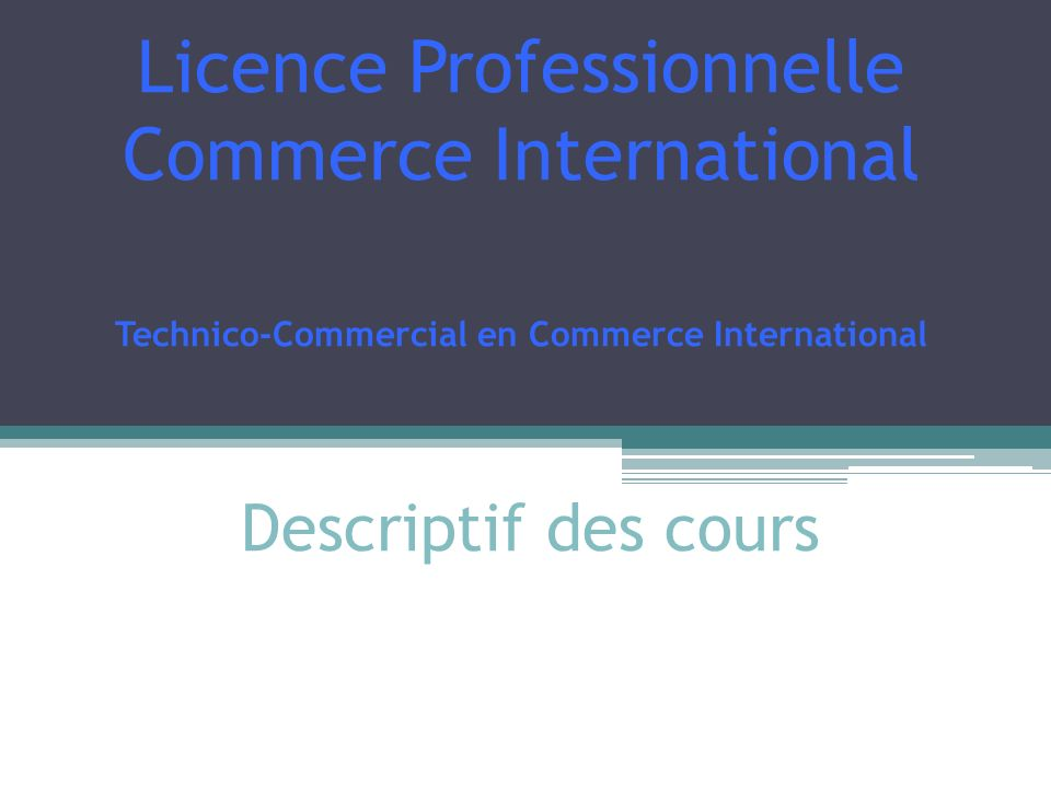 Licence Professionnelle Commerce International Technico-Commercial en Commerce International