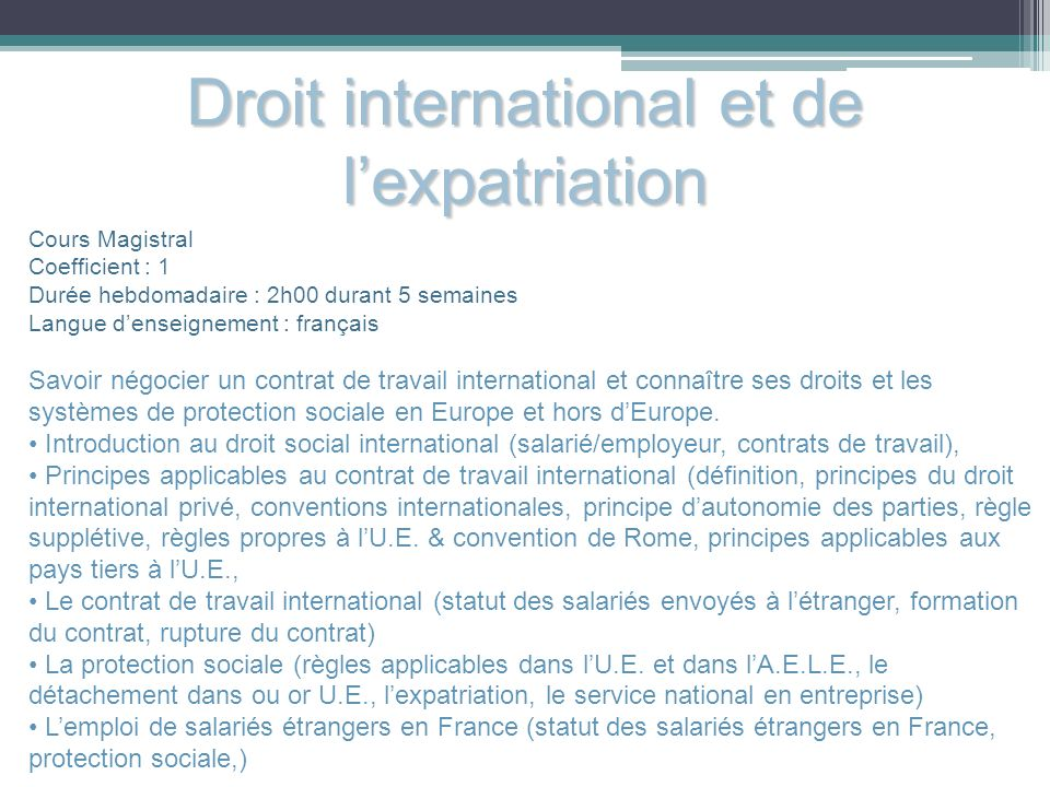 Droit international et de l'expatriation