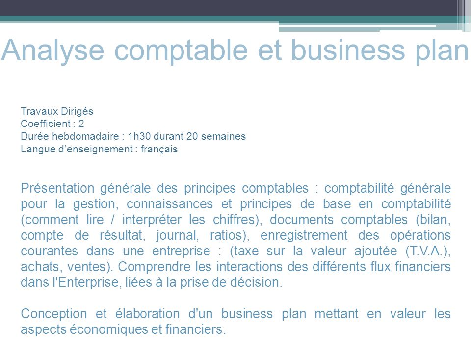 Analyse comptable et business plan