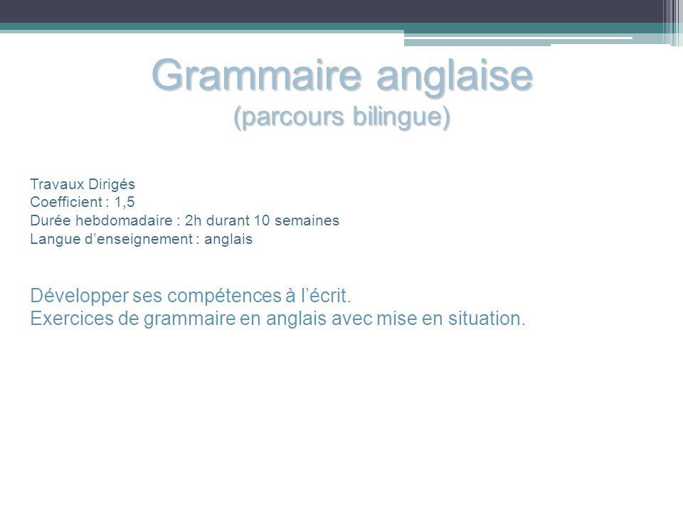 Grammaire anglaise (parcours bilingue)
