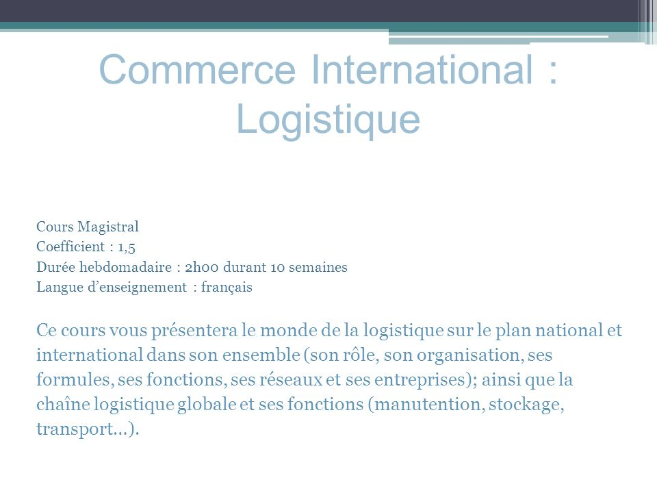 Commerce International : Logistique