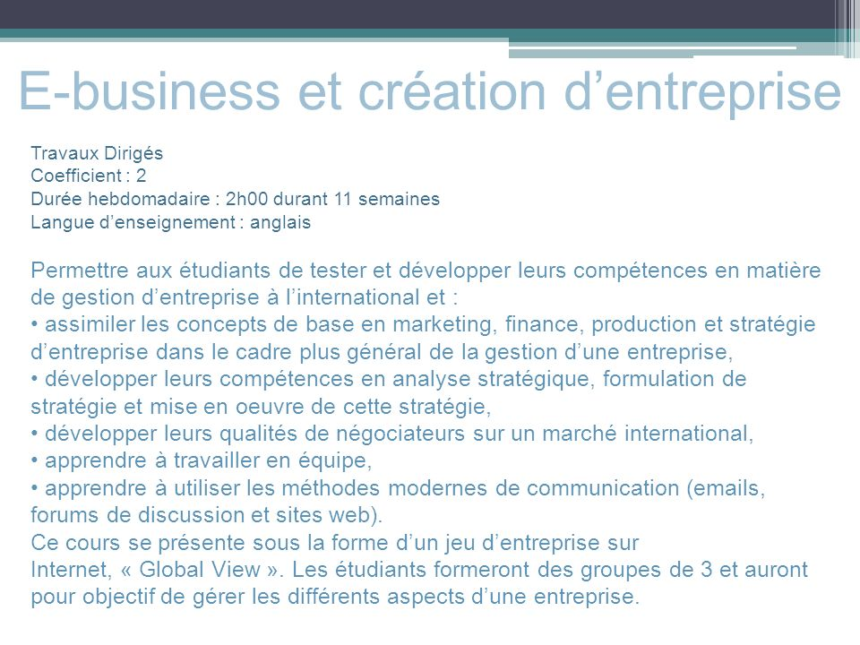 E-business et création d'entreprise