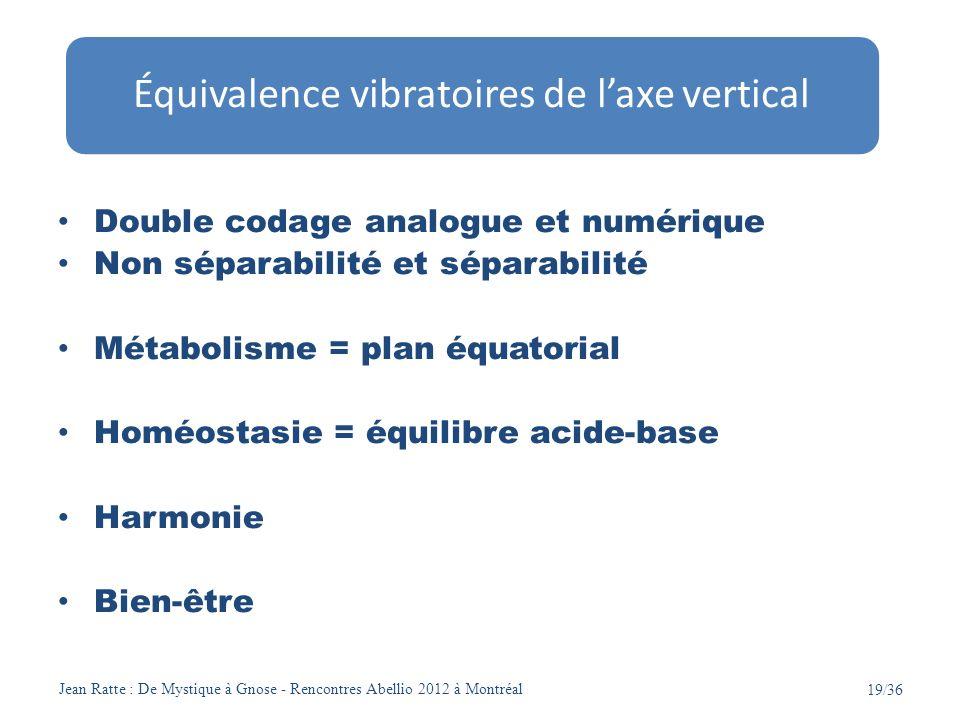 Équivalence vibratoires de l'axe vertical