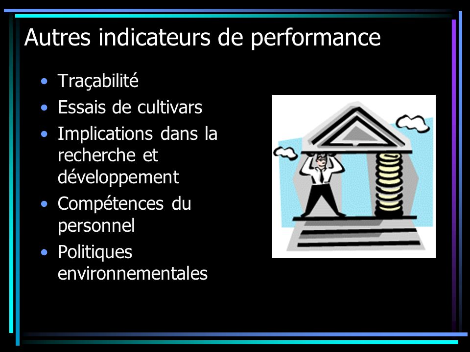 Autres indicateurs de performance
