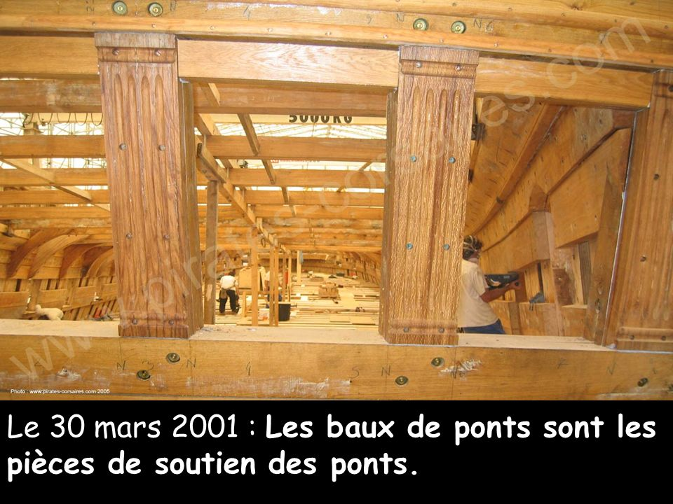 Le 30 mars 2001 : Les baux de ponts sont les pièces de soutien des ponts.