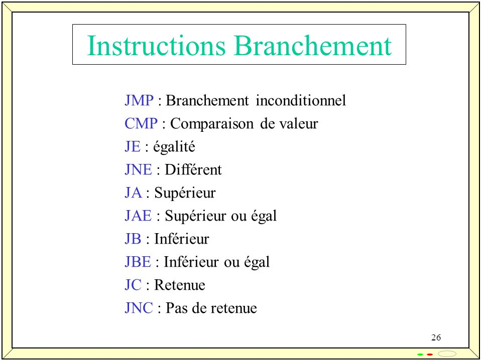 Instructions Branchement