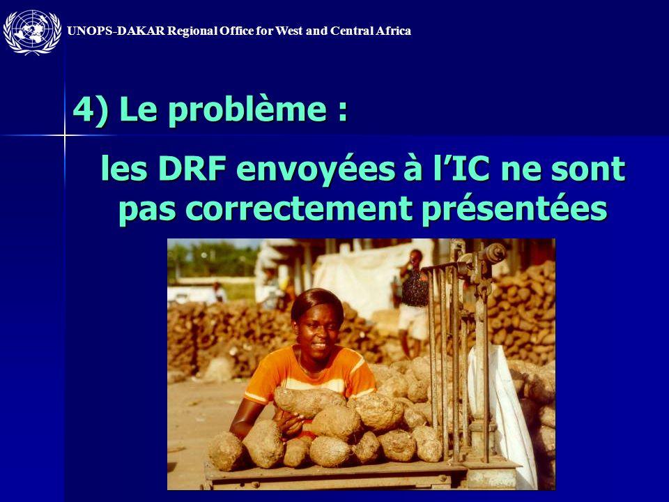 les DRF envoyées à l'IC ne sont pas correctement présentées