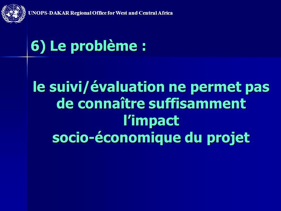 6) Le problème : le suivi/évaluation ne permet pas de connaître suffisamment l'impact socio-économique du projet.