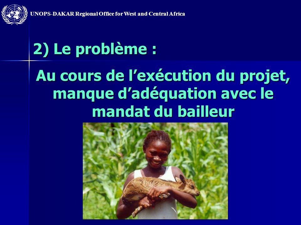 2) Le problème : Au cours de l'exécution du projet, manque d'adéquation avec le mandat du bailleur