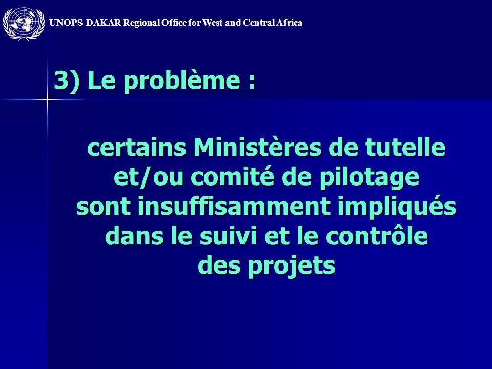 3) Le problème : certains Ministères de tutelle et/ou comité de pilotage sont insuffisamment impliqués dans le suivi et le contrôle des projets.