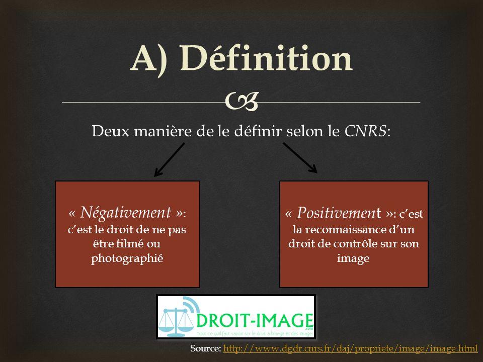 A) Définition Deux manière de le définir selon le CNRS: