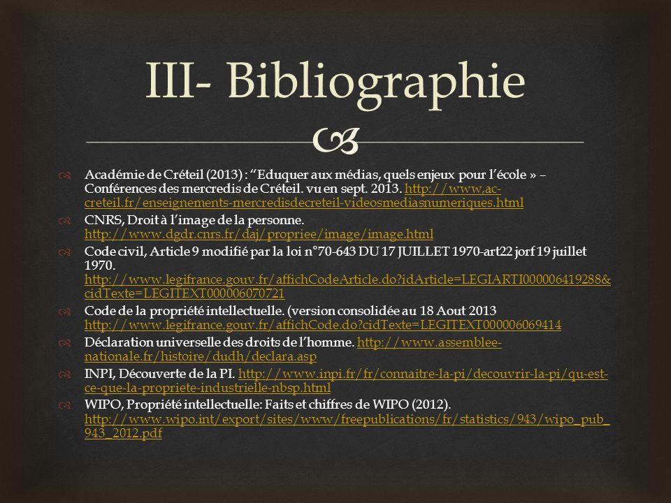 III- Bibliographie