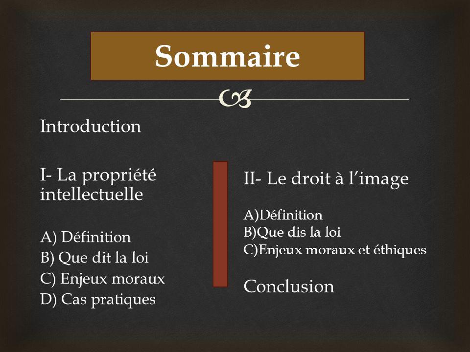 Sommaire Sommaire Introduction I- La propriété intellectuelle