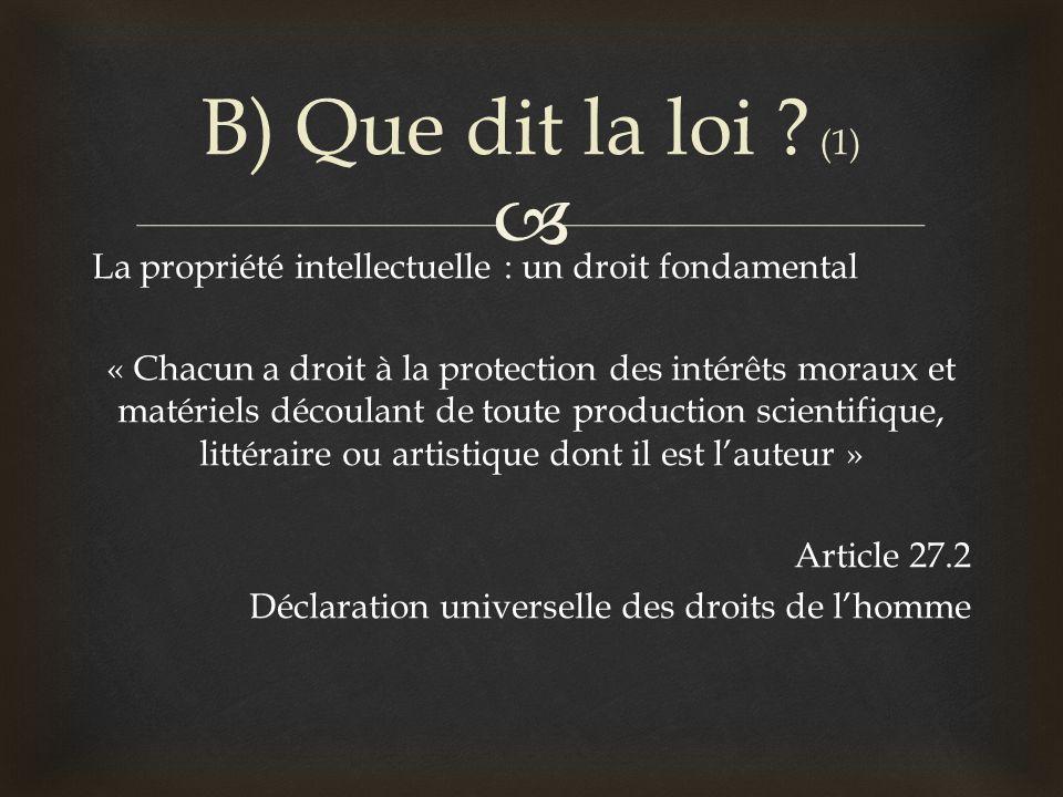 B) Que dit la loi (1)