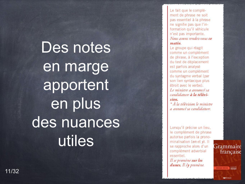 Des notes en marge apportent en plus des nuances utiles
