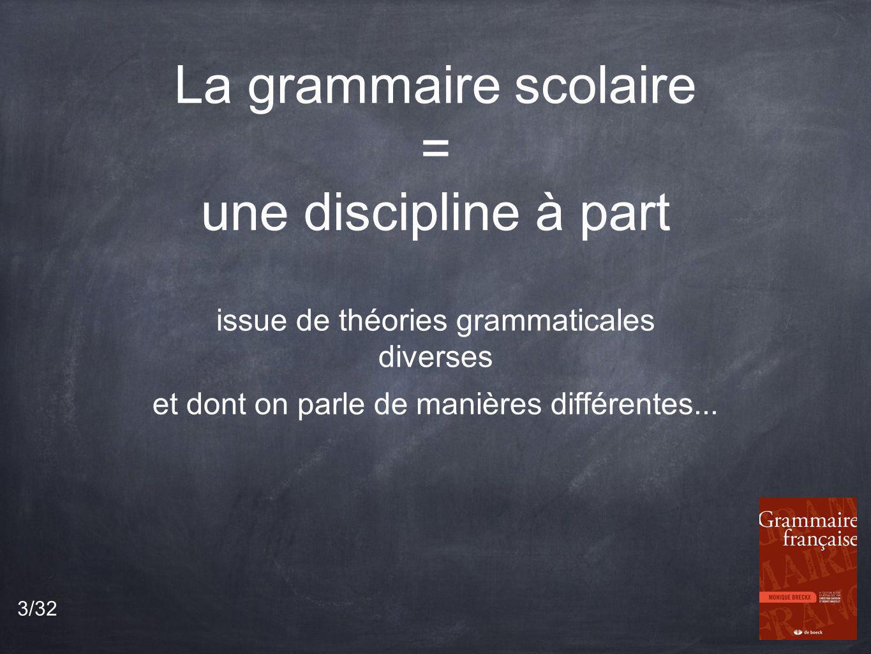 La grammaire scolaire = une discipline à part