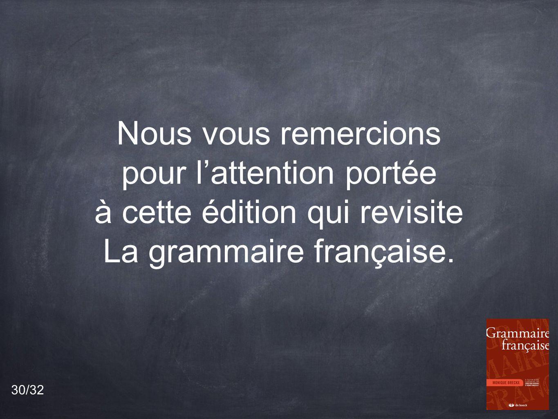 Nous vous remercions pour l'attention portée à cette édition qui revisite La grammaire française.