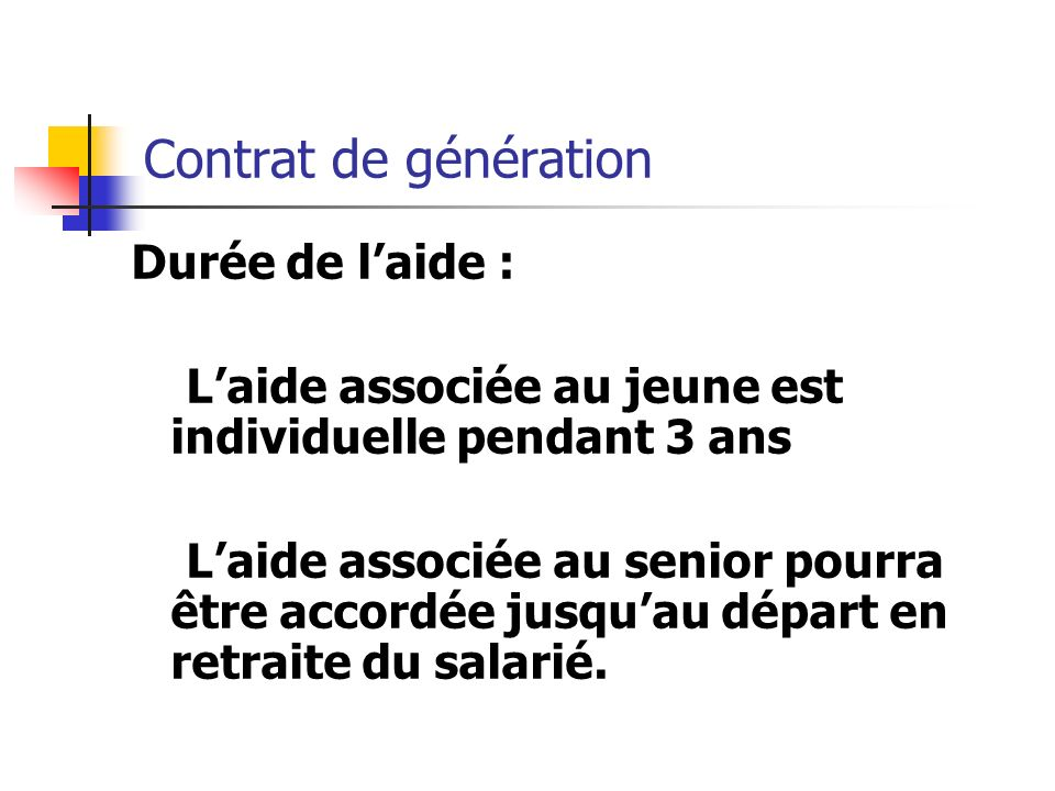 Contrat de génération Durée de l'aide :