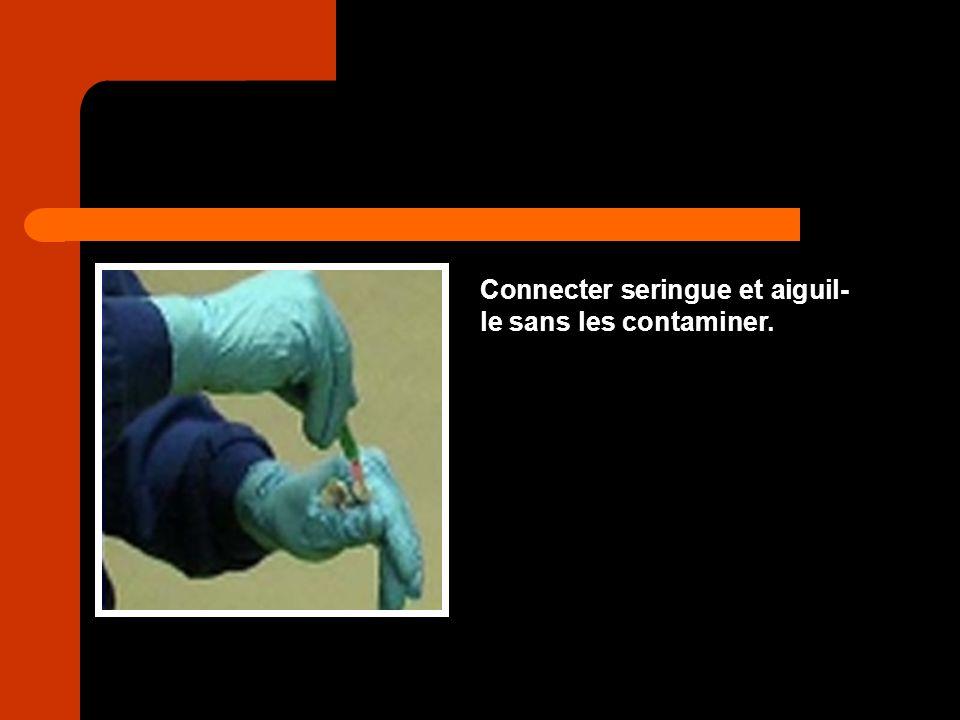Connecter seringue et aiguil-le sans les contaminer.