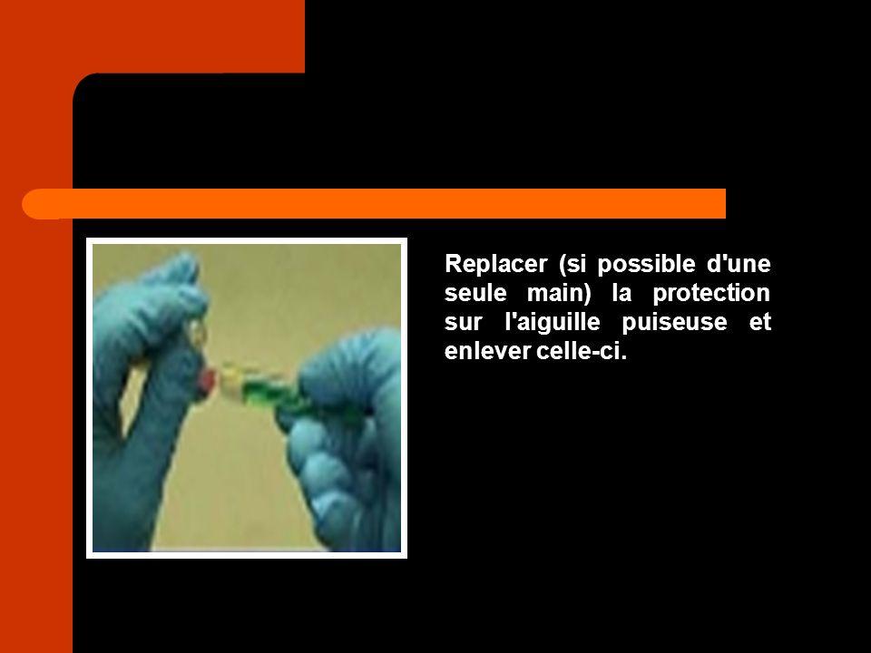Replacer (si possible d une seule main) la protection sur l aiguille puiseuse et enlever celle-ci.
