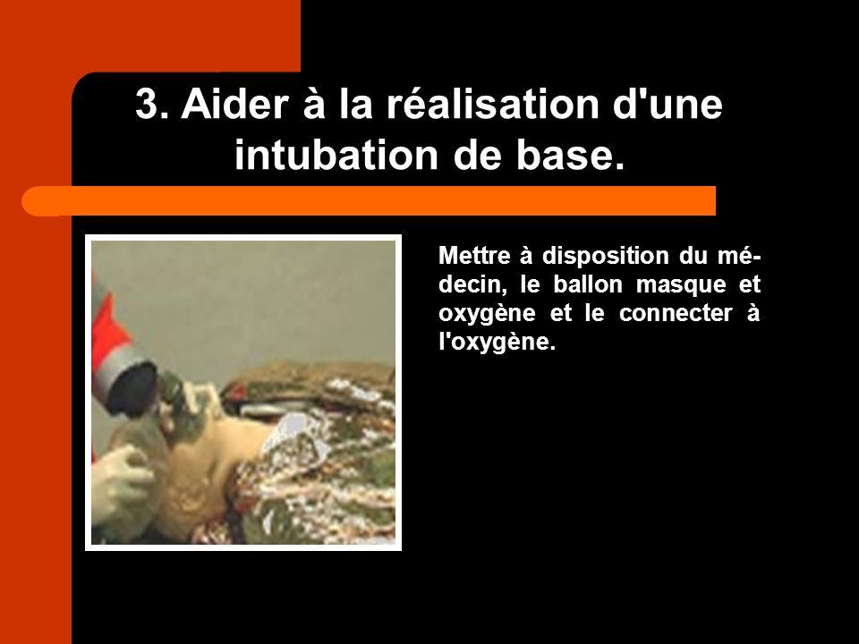 3. Aider à la réalisation d une intubation de base.