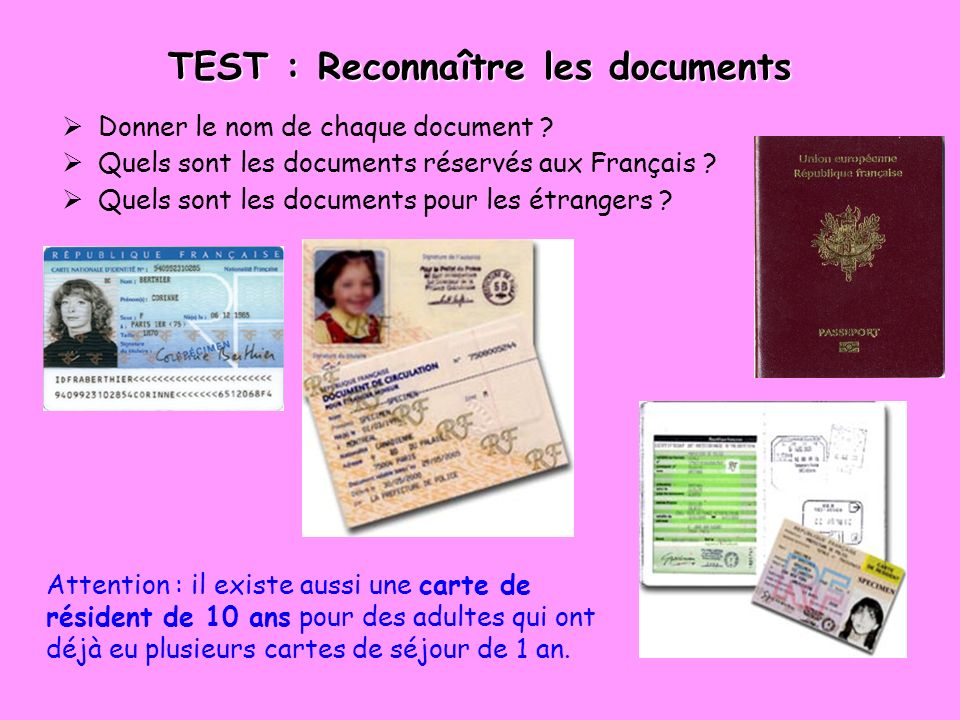 TEST : Reconnaître les documents
