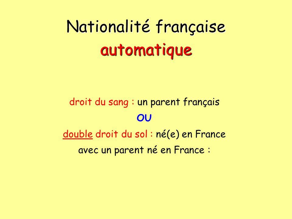 Nationalité française automatique