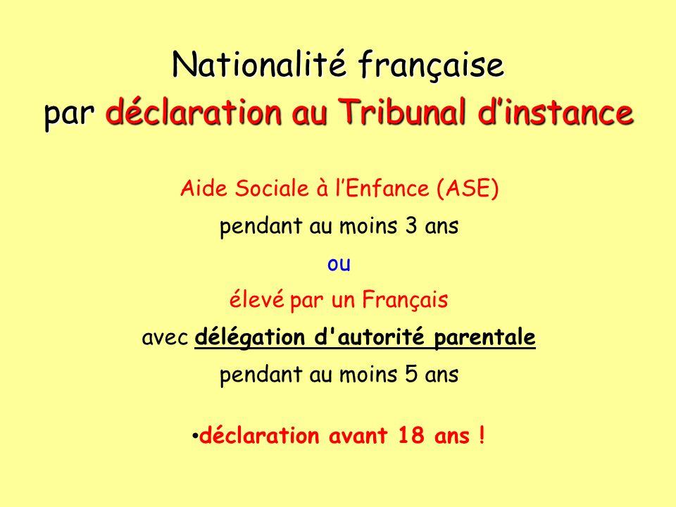 Nationalité française par déclaration au Tribunal d'instance