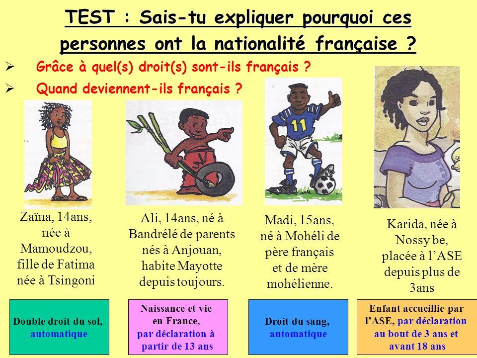 TEST : Sais-tu expliquer pourquoi ces personnes ont la nationalité française