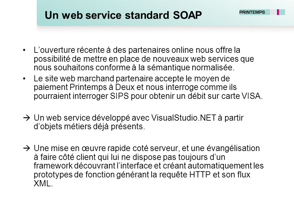 Un web service standard SOAP