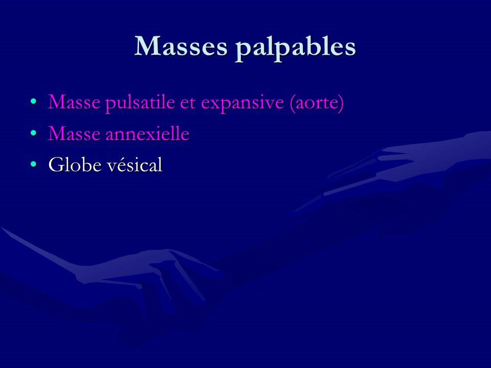 Masses palpables Masse pulsatile et expansive (aorte) Masse annexielle