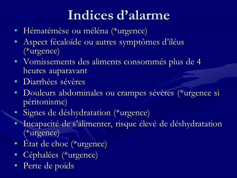 Indices d'alarme Hématémèse ou méléna (*urgence)