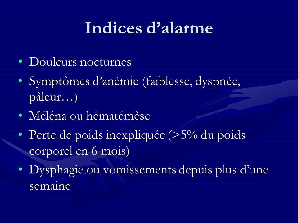 Indices d'alarme Douleurs nocturnes