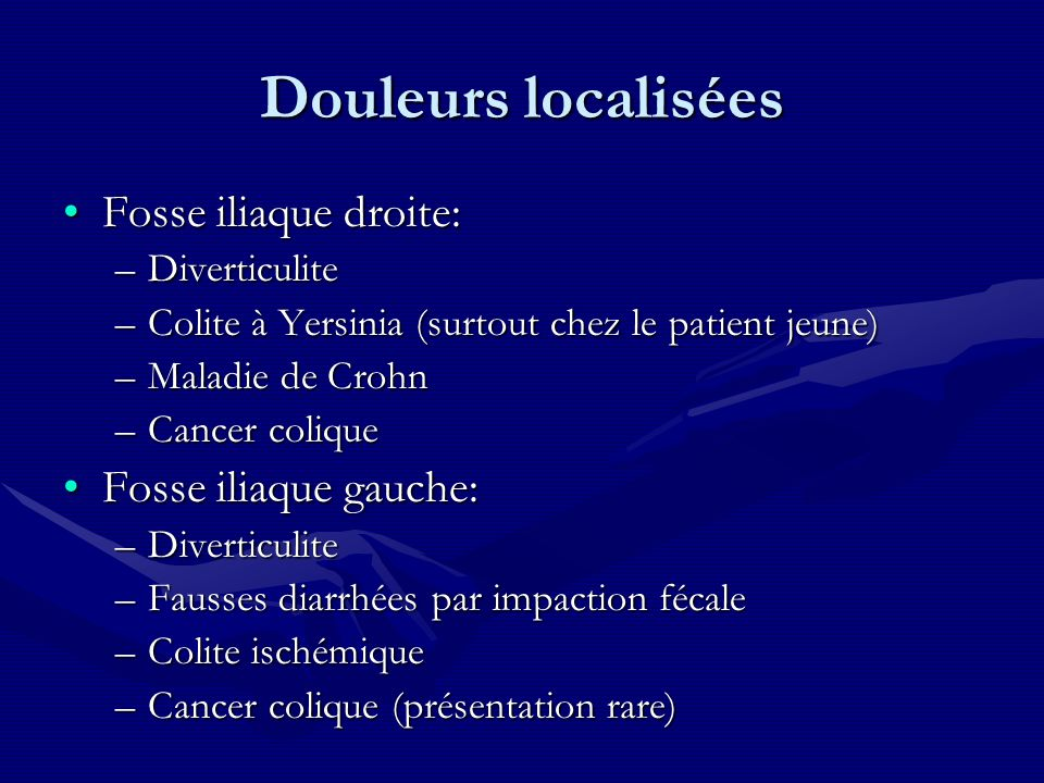 Douleurs localisées Fosse iliaque droite: Fosse iliaque gauche: