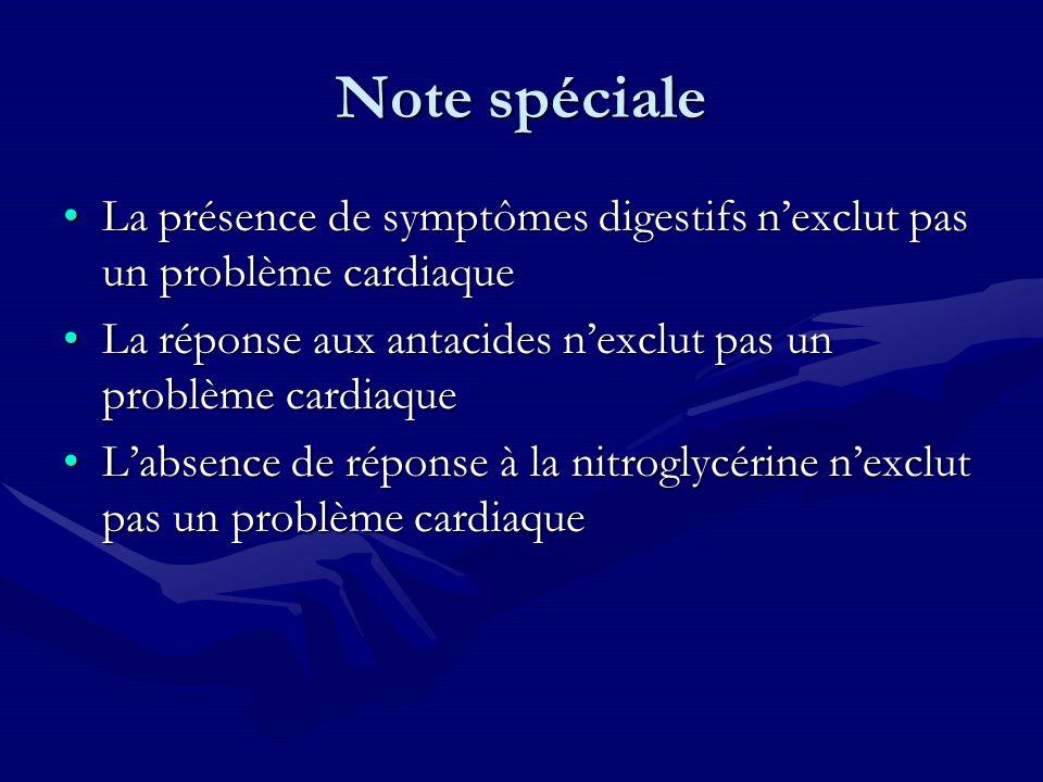 Note spéciale La présence de symptômes digestifs n'exclut pas un problème cardiaque. La réponse aux antacides n'exclut pas un problème cardiaque.
